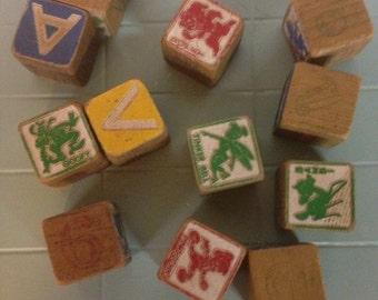 12 Vintage Wooden Disney Blocks