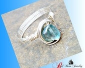handmade silver wire wrapped aquamarine ring, made to order