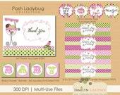 Little Ladybug Baby Shower Printables - Ladybug Baby Shower - Ladybug Shower Printable Package - Instant Download