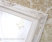 """IVORY FRAMED MIRROR Baroque Framed Mirrors For Sale French Country Home Decor 31""""x27"""" Ivory Mirror Antique White Cream Colored Vanity Mirror"""