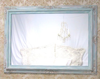 "FRENCH COUNTRY HOME French Provincial Furniture 44""x32"" Teal Green Mirror Dresser Mirror Framed Ornate Baroque Mirror Decorative"