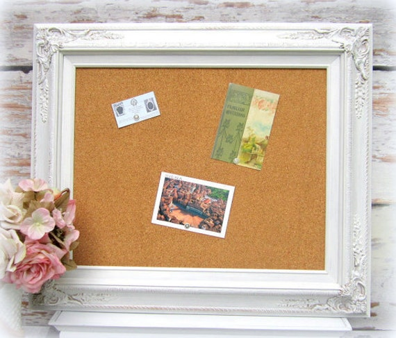 FRAME CORKBOARD DECORATIVE Memo Board White Shabby Chic Home
