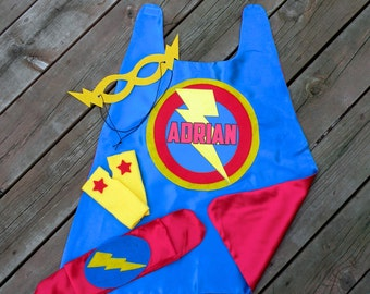 Boys Personalized 4 piece SUPERHERO CAPE SET-Includes personalized cape with child's name, hero belt, mask, and arm bands