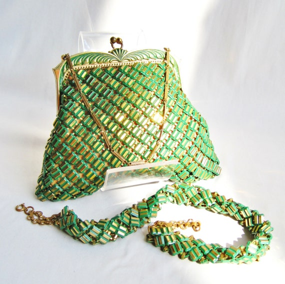 Green and Gold Whiting and Davis Deco Matching Purse and Necklace SET