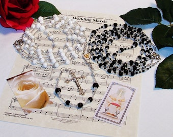 Black Agate and Hand-carved Coral Lasso Wedding Rosary - Gorgeous Handcrafted Heirloom Quality Catholic Rosary