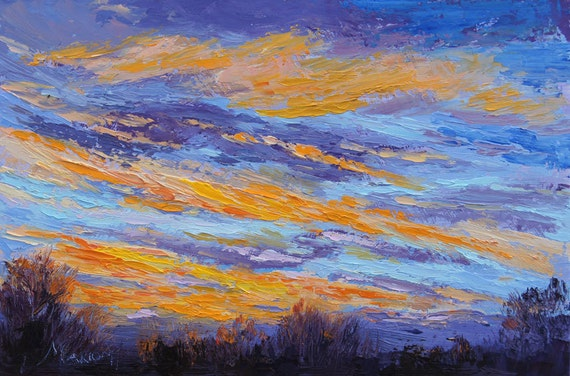 Original sunrise landscape painting Palette Knife Oil