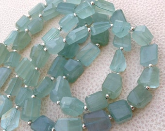 LAST Strand,Brand New, 8 Inch Long Strand, Super Shiny Opaque Blue AQUAMARINE Faceted Nuggets, 10-12mm Long size,GORGEOUS