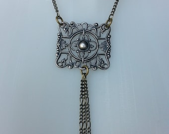 Chain Necklace - Antiqued Brass Chain with Pewter Vintage Antique Victorian Pendant w Chain Tassels