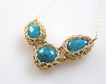 Turquoise Necklace, Crochet Necklace,  Triple Necklace, Gold Turquoise Necklace, Wire Crochet Jewelry, Bridesmaid Jewelry