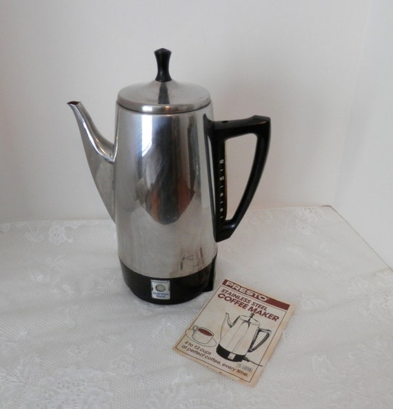 Electric Percolator Coffee Maker Reviews : Vintage Presto Electric Coffee Percolator 12 Cup Vintage