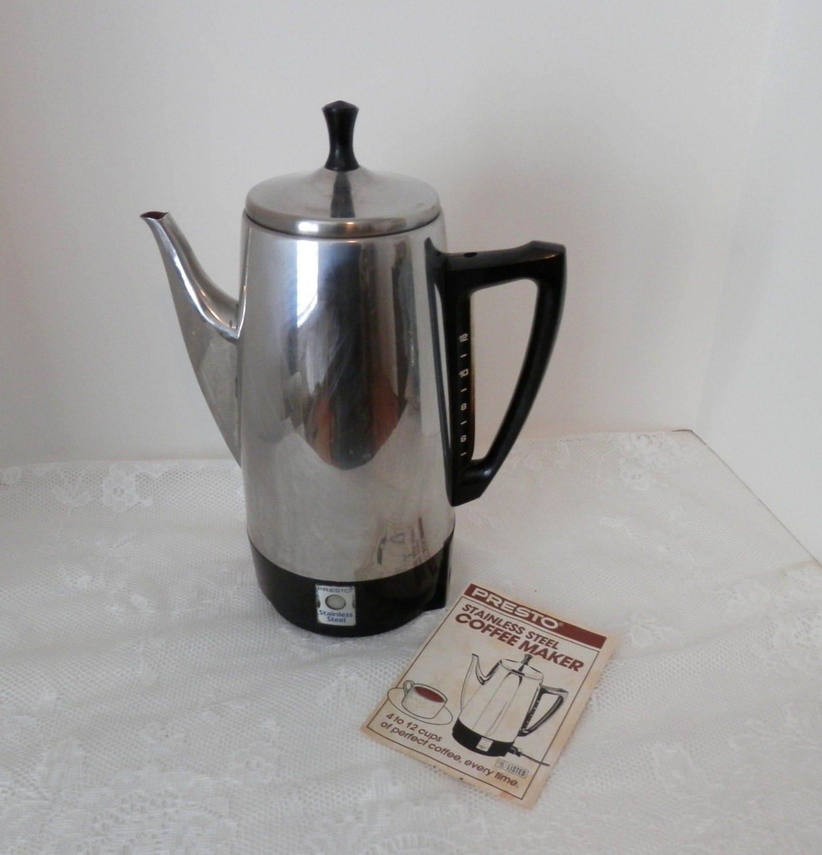 Vintage Presto Electric Coffee Percolator 12 Cup Vintage