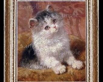 Kitten Miniautre Dollhouse Cat Art Picture 6101