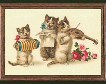 Vintage Singing Cats Miniature Dollhouse Art Picture 1218