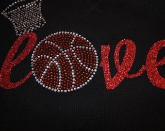 LOVE Basketball Shirt, Basketball Mom Shirt, Basketball Bling Shirt, Rhinestone Shirt, Basketball