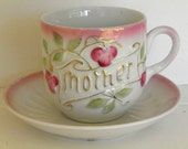 Vintage German Pink Mother Cup and Saucer