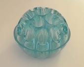 Vintage Aqua Teal Turquoise Blue Glass Flower Frog