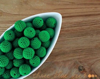 Kelly Green Organic Crocheted Beads 12 Pieces