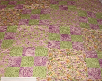 Lavender and Green Floral Crib Quilt
