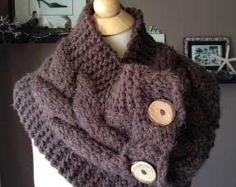 Handknit Cabled Button Cowl