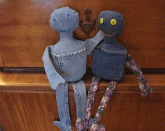 Hand Made Denim Blue Jean Pocket Friend Dolls ( Solid blue boy or girl with floral print arms and legs)