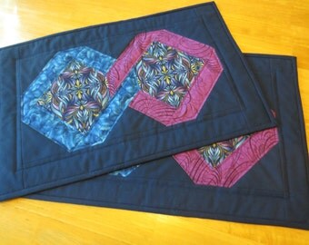Placemats with a Twist, Colorful Blue and Violet, Set of 2 Patchwork Quilted