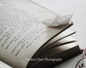 Tale of the high seas, Fine Art Photograph, 8x10, Paper Boat, Fariy Tale, Book, Black White, Red, Print, Read, Adventure, Gift, Wall Decor