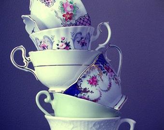 Tea Party, 5x7, Art Photograph, photography, print, teacups, tea, shabby chic, alice in wonderland, vintage, flowers, purple, kitchen, decor