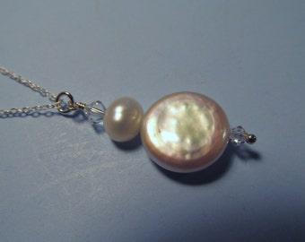Freshwater Pearl Swarovski Crystal Necklace, Pearl Necklace, Coin Pearl, Necklace, Freshwater, Pearl, Sterling, Silver, Swarovski, Crystal