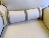 FRENCH LAUNDRY Linen/Cotton 9x25 Bolster/lumbar pillow in green stripes