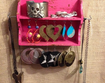 Upcycled Mini Jewelry Organizing Display (Bright Pink)