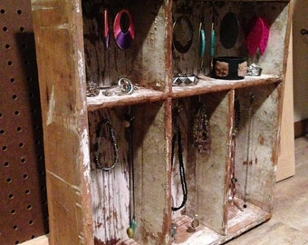 Upcycled Jewelry Organizing Display (Wooden and Chipped Paint Drawer)