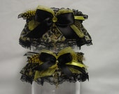 Black and Golden Yellow Leopard Print Wedding Garter Set/Love and Luck