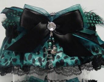 Black and Teal Leopard Print Wedding Garter Set