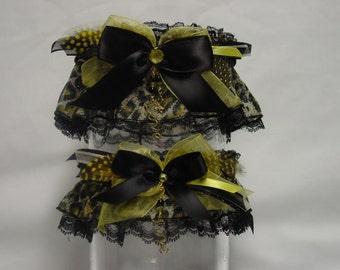 Black and Golden Yellow Leopard Print Wedding Garter Set/Love and Luck