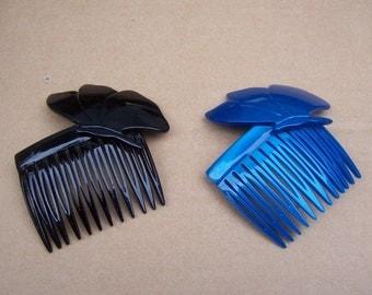 Vintage hair combs 2 butterfly themed hair accessories hair barrette hair slide hair pin hair jewelry hair ornament headdress 1980s (AAA)
