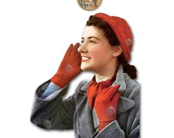 1940s Cap, Scarf, and Gloves Vintage Knitting Pattern - Instant Download PDF - PrettyPatternsPlease