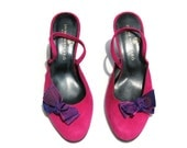 Vintage Jaime Mascaro Dark Pink/Purple Suede/Fabric Bow Slingback Classic Dress Shoes Sz 6
