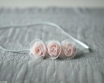 Baby Headband, Light Pink Rose Newborn Headband, Newborn Props, Triple Flower Headband, White Headband