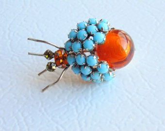SPIDER. BUG. Insect Pin. Brooch. vintage 1950s 1960s RHINESTONE faux turquoise / amber