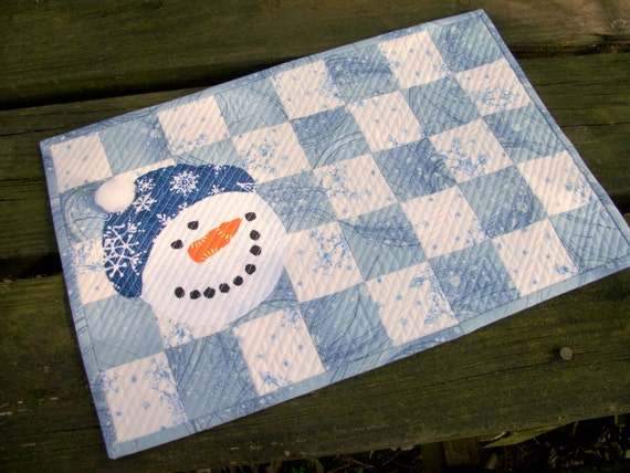 Snowman Placemat Snack Mat Mug Rug Winter Quilted