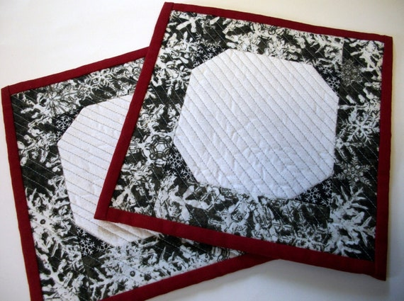 Snowball Mug Rugs Snack Mats Winter Quilted Set of 2