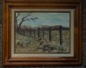 Vintage original oil, western landscape, custom wood frame.