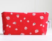 cosmetic bag. small make up bag. strawberries. waterproof.  organic cotton.