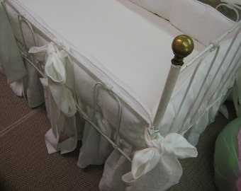 Classic Crib Bedding -Washed Linen in Vintage White - Tailored Bumpers with Piping Detail - Sash Ties- Gathered Crib Skirt