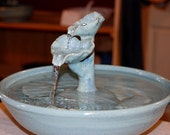 "Ceramic Cat Fountain, Handmade, Foodsafe -  ""Sea Flower"" - 12.5  Inch Diameter"