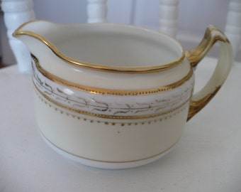 Vintage Hand Painted Nippon Creamer Pitcher Pale Yellow with Gold Accent