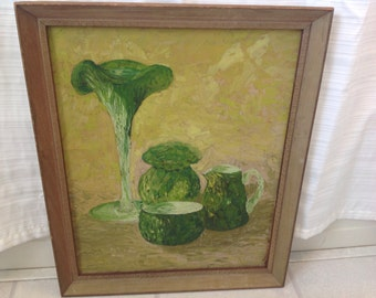 Vintage Still Life Oil Painting With Vases and Pitcher and Vase Shades of Green and Greek Key Frame