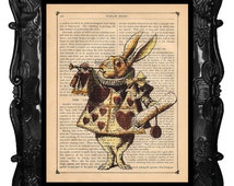White Rabbit ALICE In WONDERLAND Home Decor  Vintage Art Print on Antique Book Page Dictionary Page Art Print