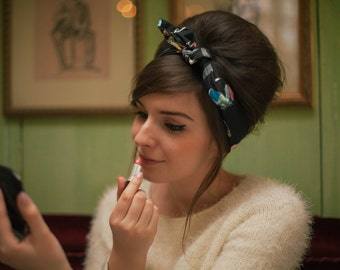 Make Up Print Hair Scarf, Girly Hair Scarf, Retro Head Scarf, Make Up Fabric Print Headband, Cosmetics Fabric Hair Accessory