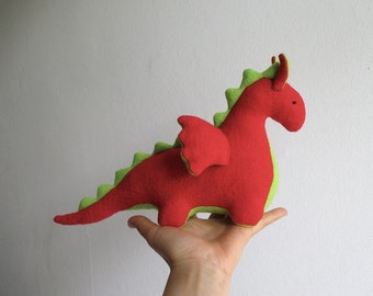 Dragon, organic, scarlet red, lime green, waldorf, soft animal, toy, magical creature, fairy tale, fantasy